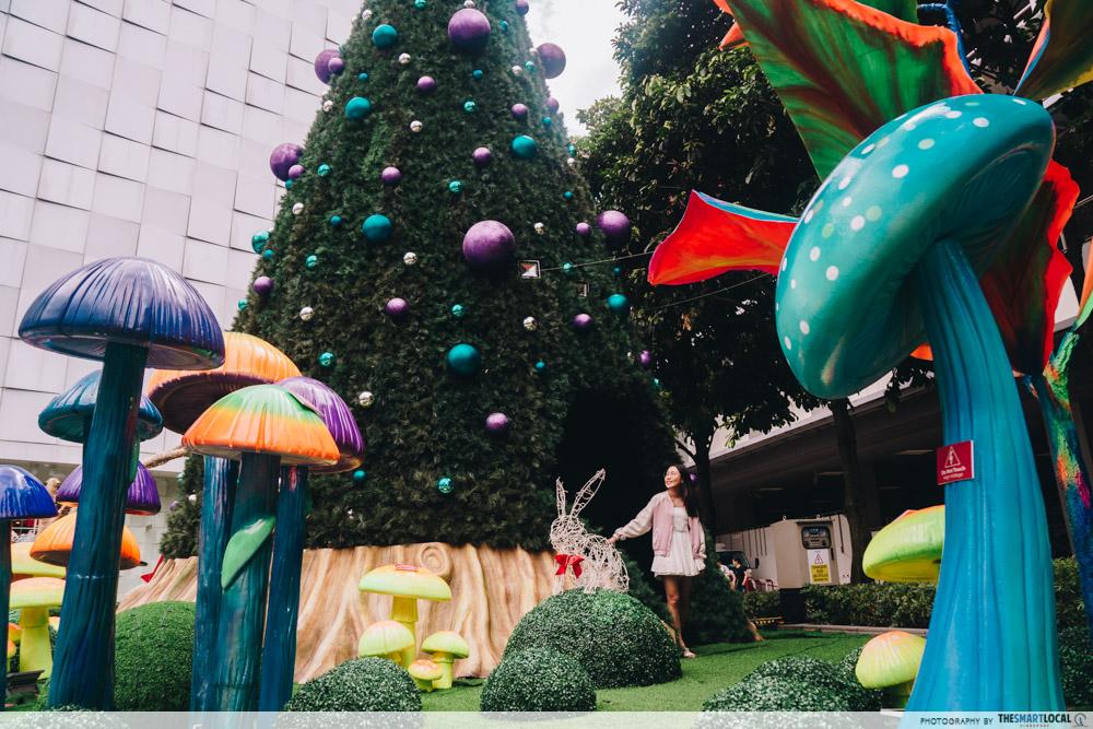 JEM wonderland themed christmas 2018 - white rabbit mushrooms
