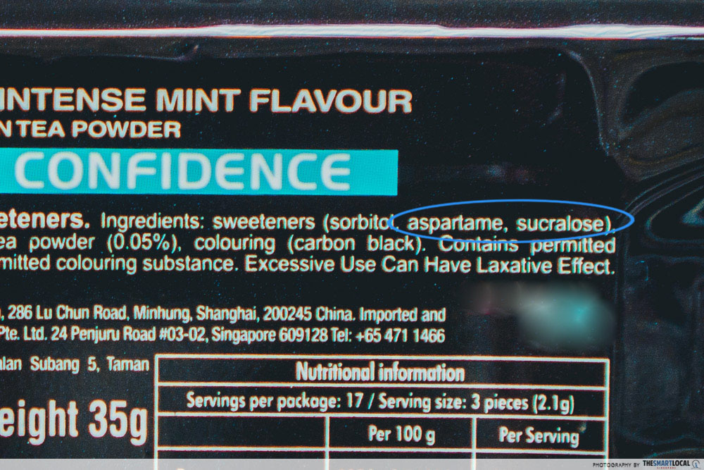 aspartame mixed with sucralose
