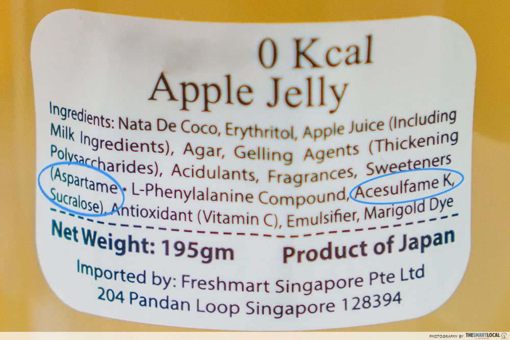 aspartame acesulfame k and sucralose in jelly