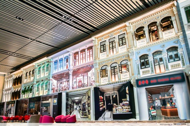 Features in Changi Airport T4 - Peranakan shophouses