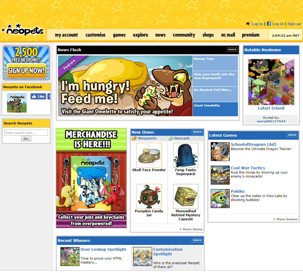 neopets new landing page