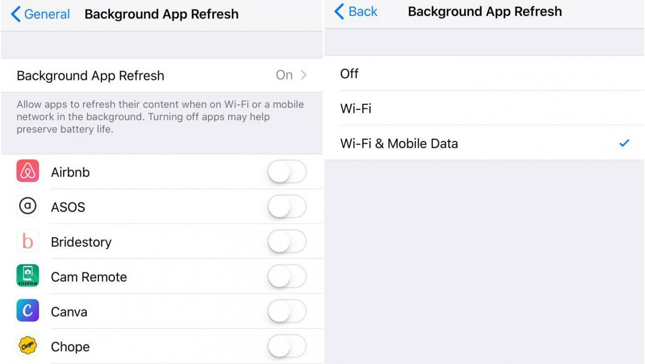 Save data - disable background app refresh