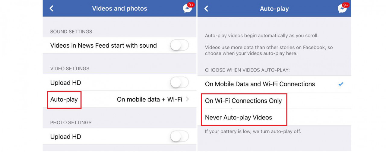 Save data - turn off Facebook's autoplay