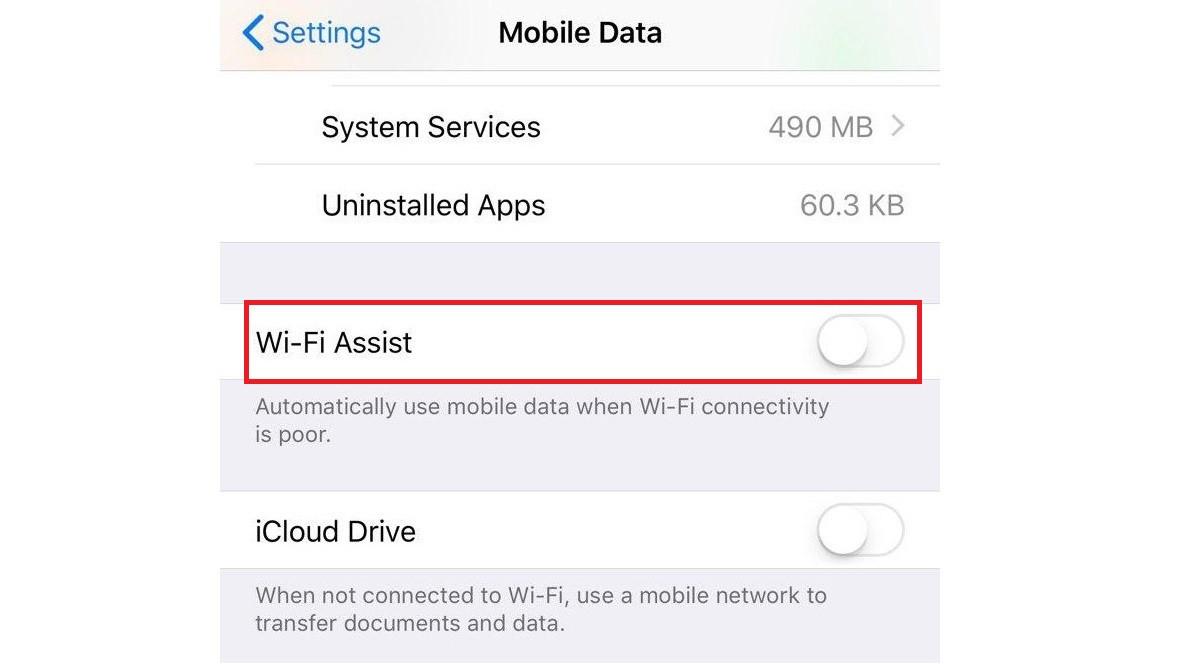 Save data - turn off WiFi Assist