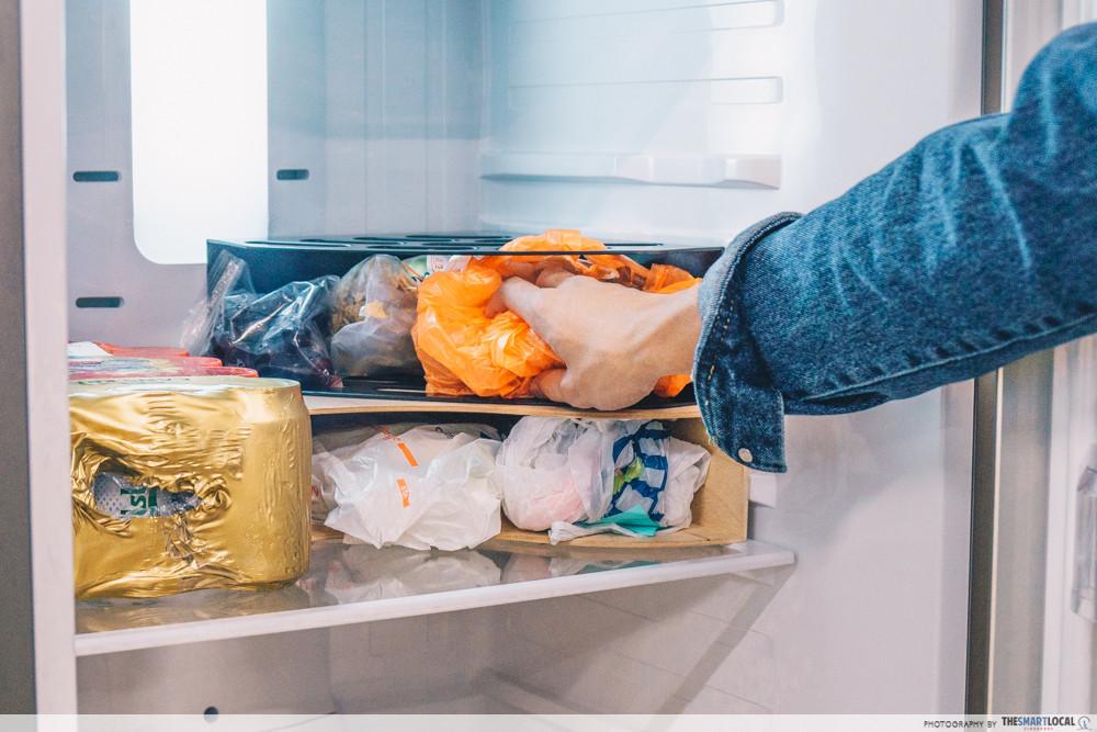 packed ingredients inside fridge