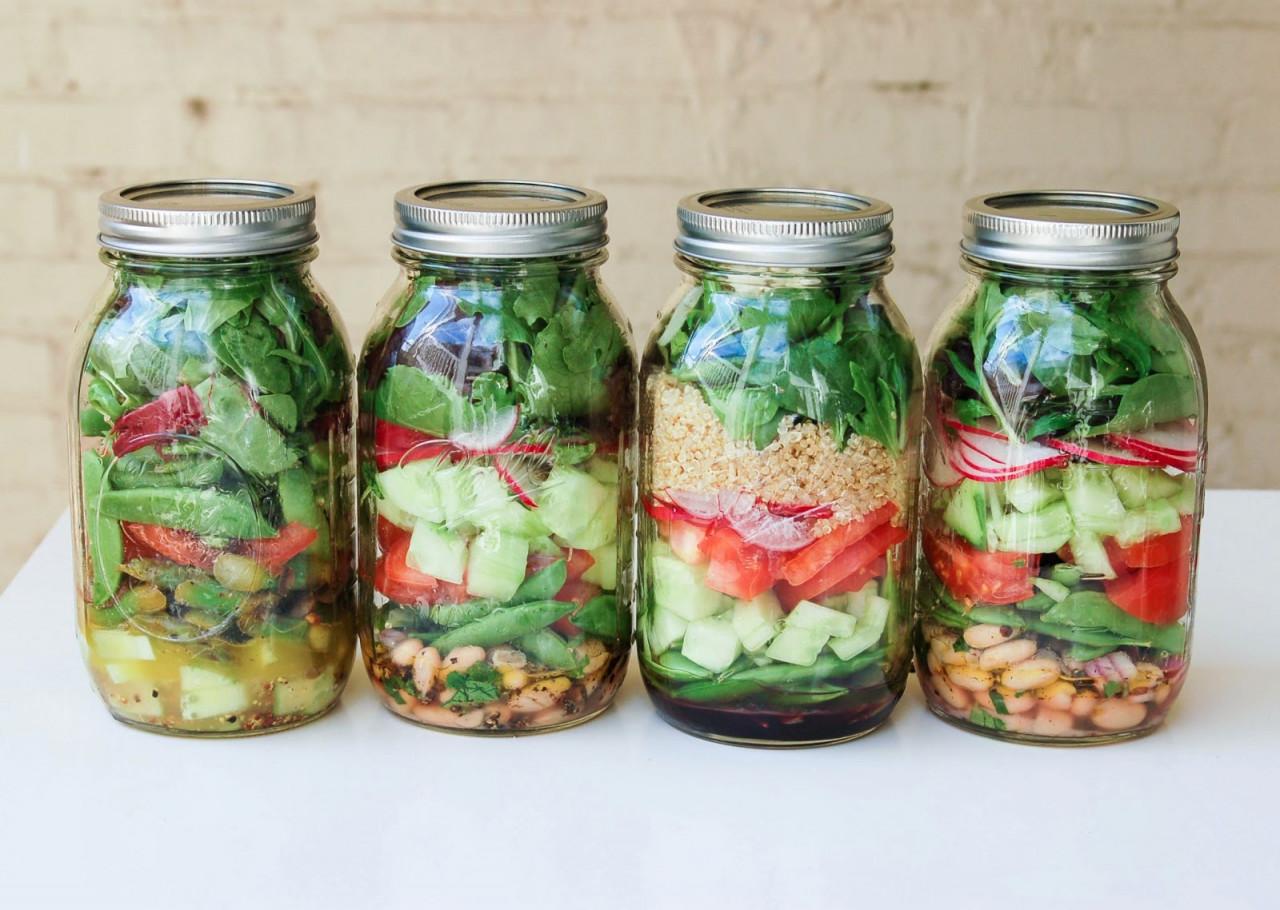 vegetables in mason jar