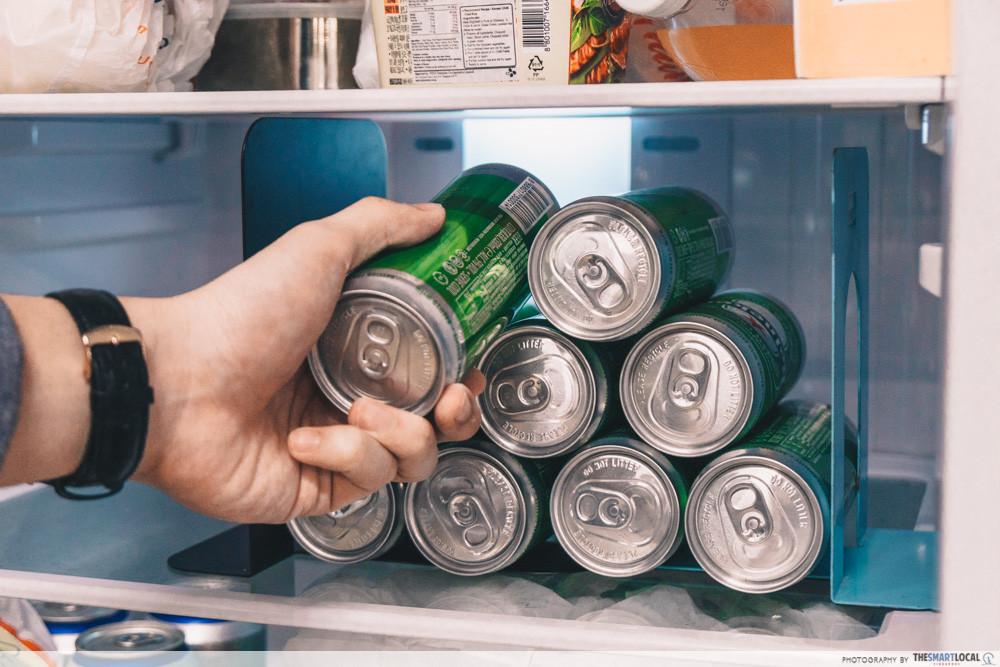 cans of beer inside fridge