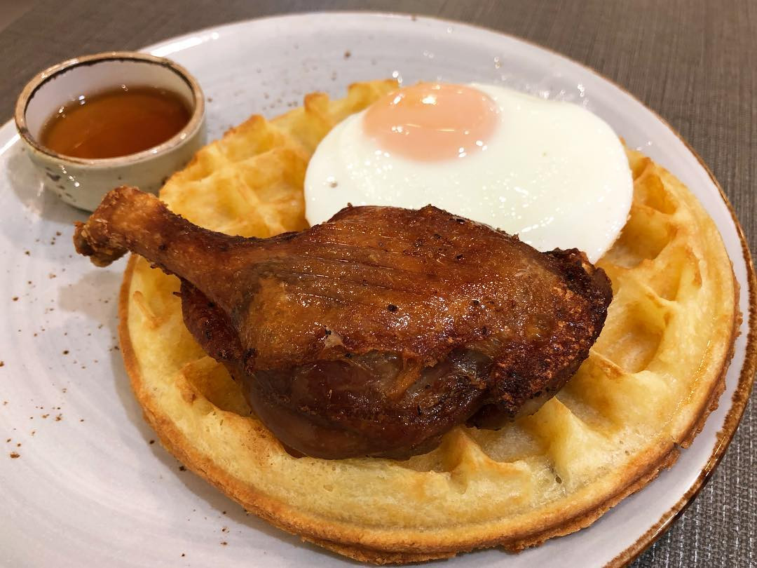 duckland duck confit and waffle