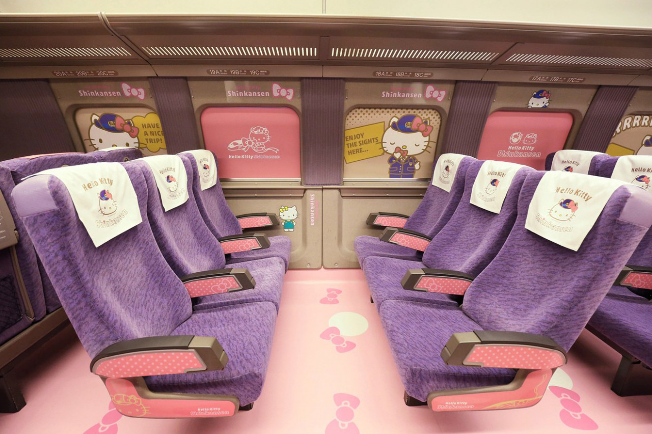 Hello Kitty Shinkansen's interior