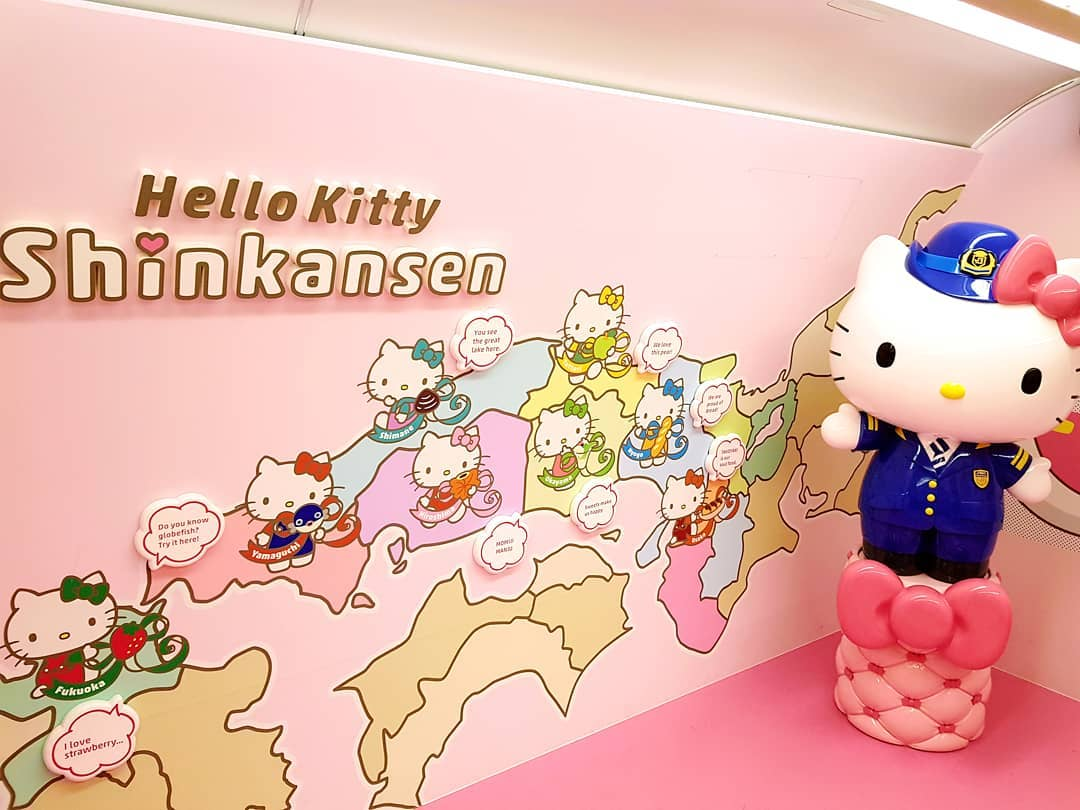 Take pictures with Hello Kitty in the train's second car called Kawaii! Room.