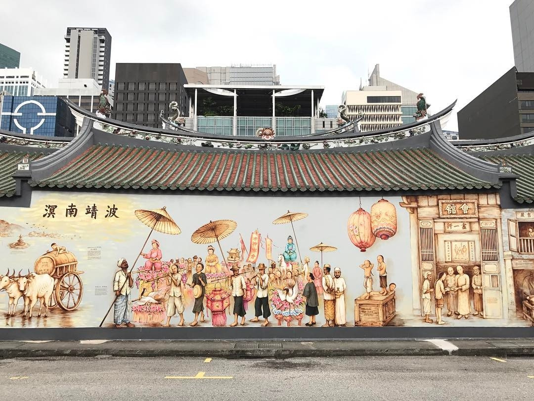 Singapore maritime history - wall mural at Telok Ayer