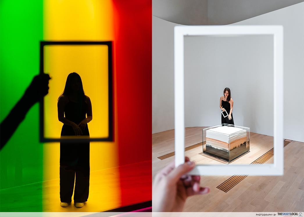 photo frames used in minimalist exhibit