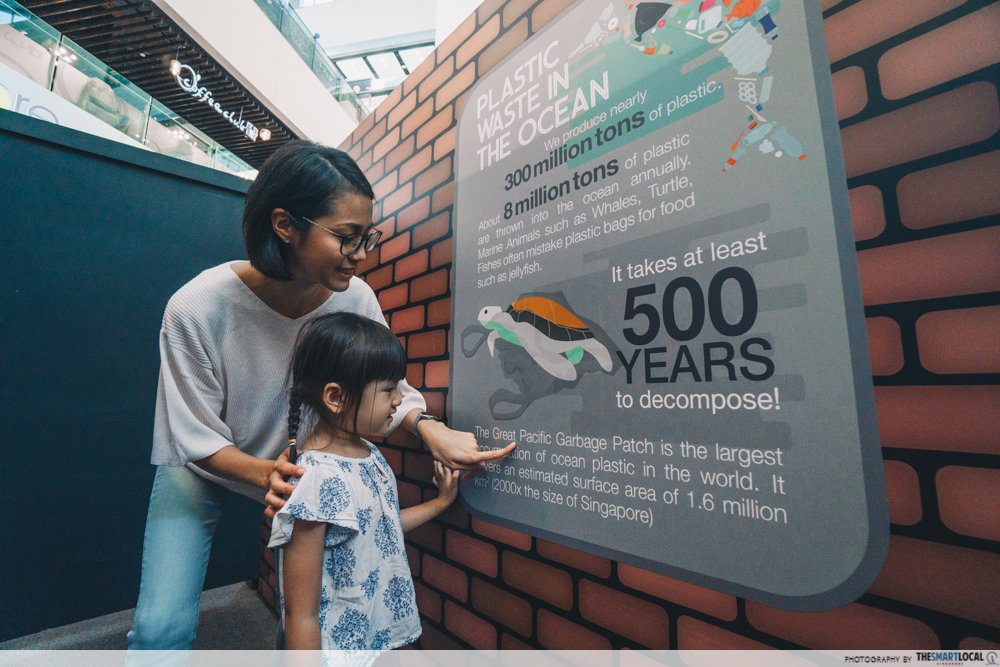 Mother and daughter reading environmental infographics
