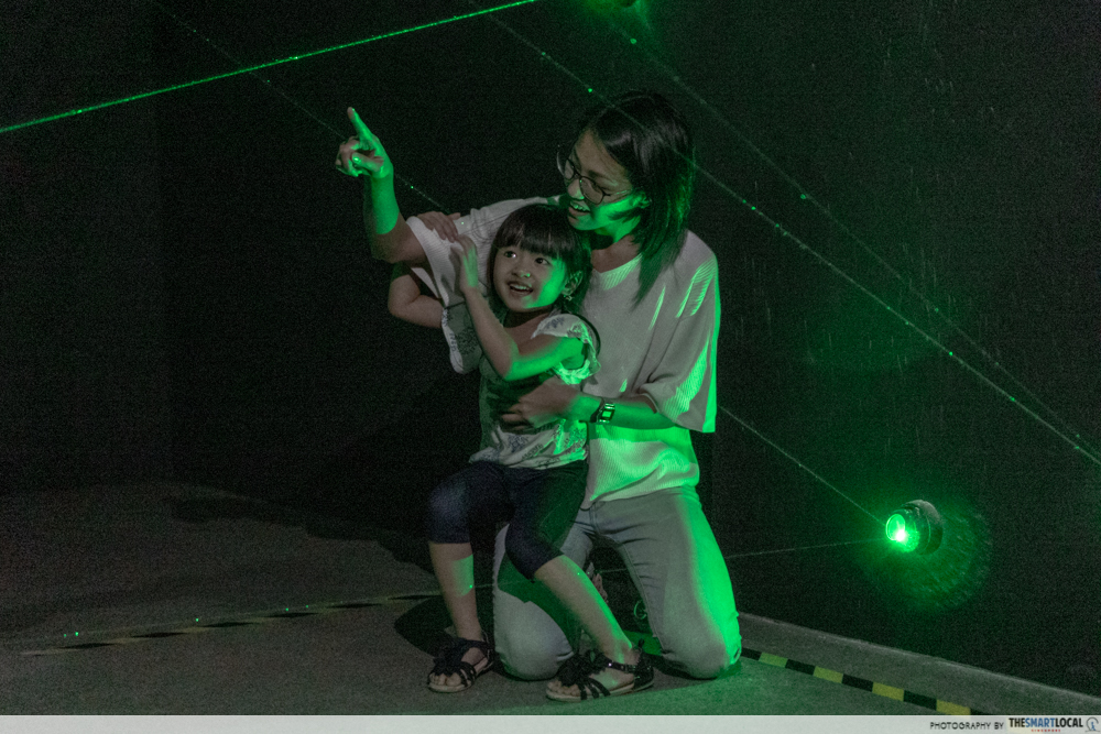 Mother and daughter in laser room