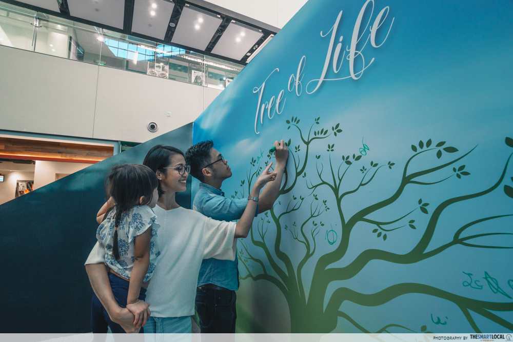 Father, mother and daughter signing on wall mural