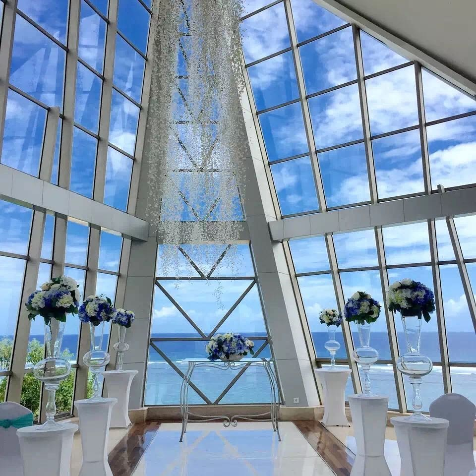 Inside Samabe resort's glass chapel