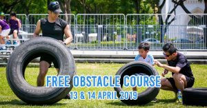 Family obstacle course at Sports Hub