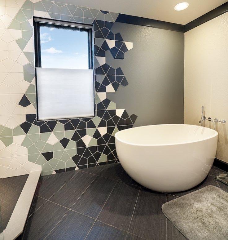 Geometric tiles in bathroom