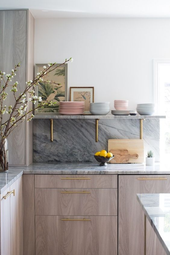 Marble surface with metallic hinges in kitchen