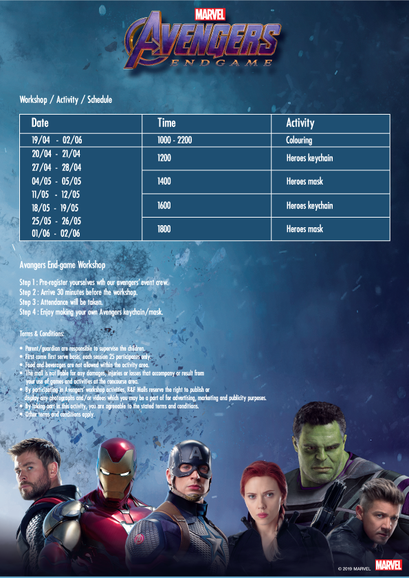 Avengers Endgame schedule at R&F mall