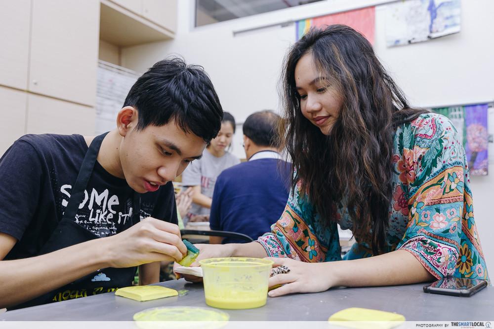 sg cares tile painting workshop lesson
