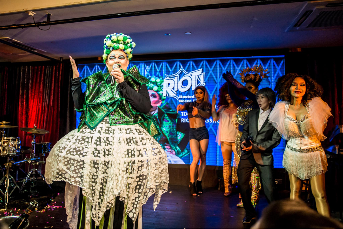 regular comedy shows in singapore riot drag queen show becca d'bus