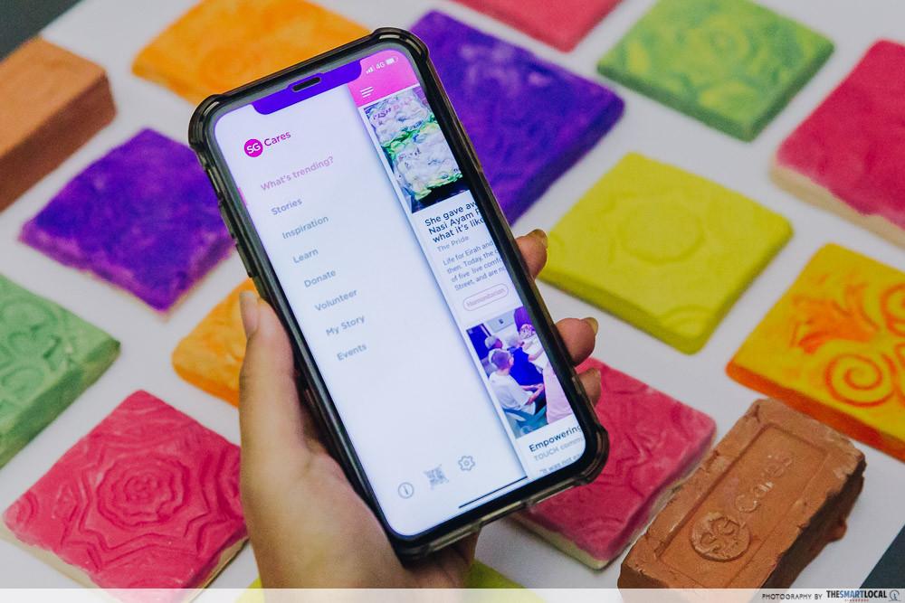 SG Cares app menu