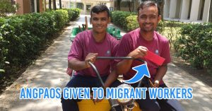 migrant workers with ang pao