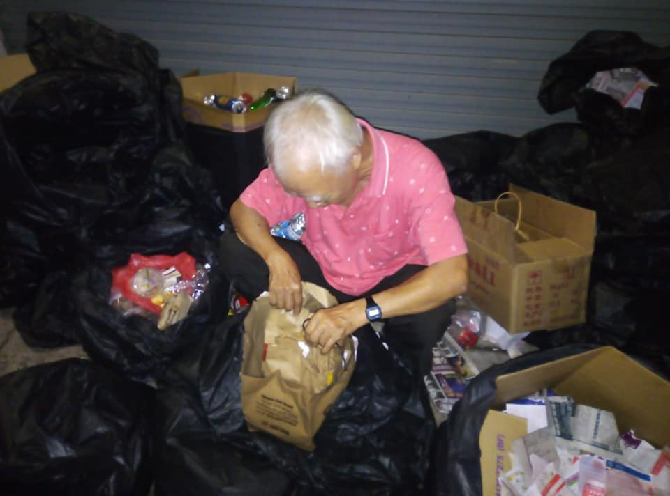 old man with Macs meal