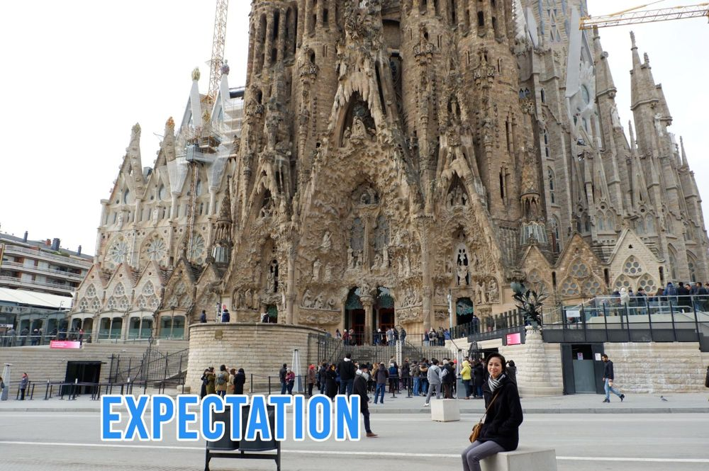 Girl in front of Sagrada Familia