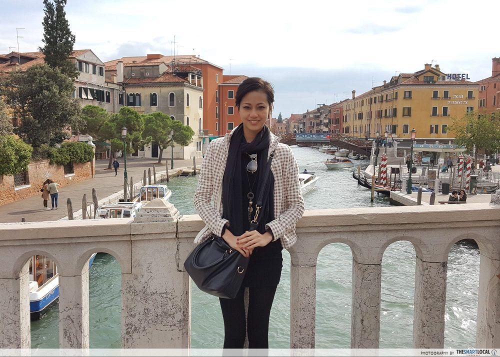 Girl on a bridge in Venice