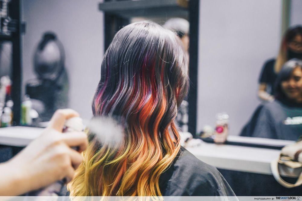 rainbow unicorn hair singapore salon