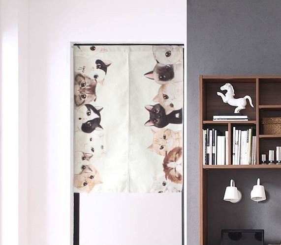 Japanese door curtains cat