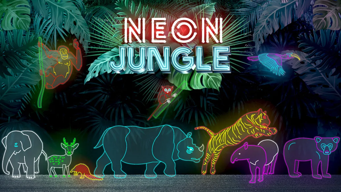 Neon Jungle Gardens by the Bay - animal light installations
