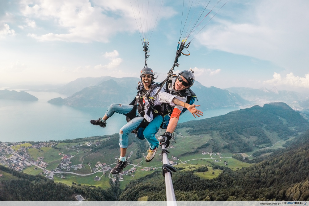 Paragliding over Lake Lucerne in Switzerland