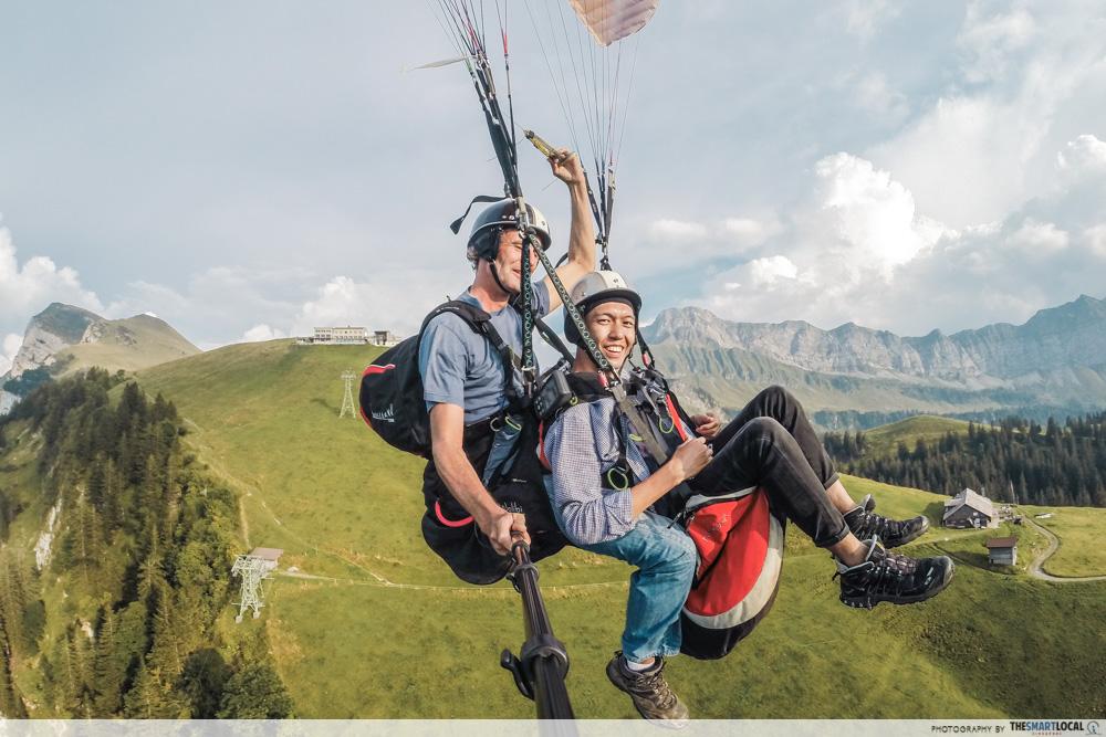 Paragliding over Lake Lucerne in Switzerland