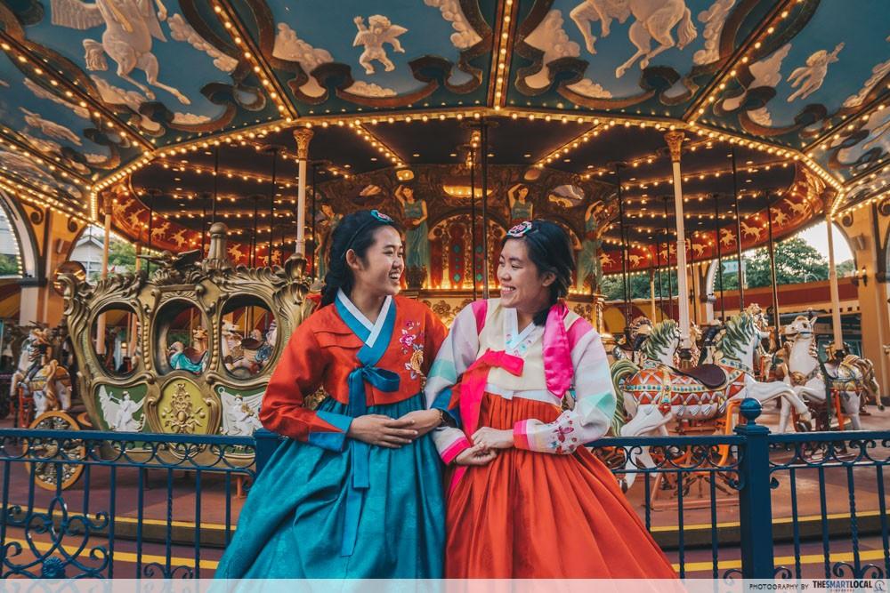 everland korea hanbok carousel