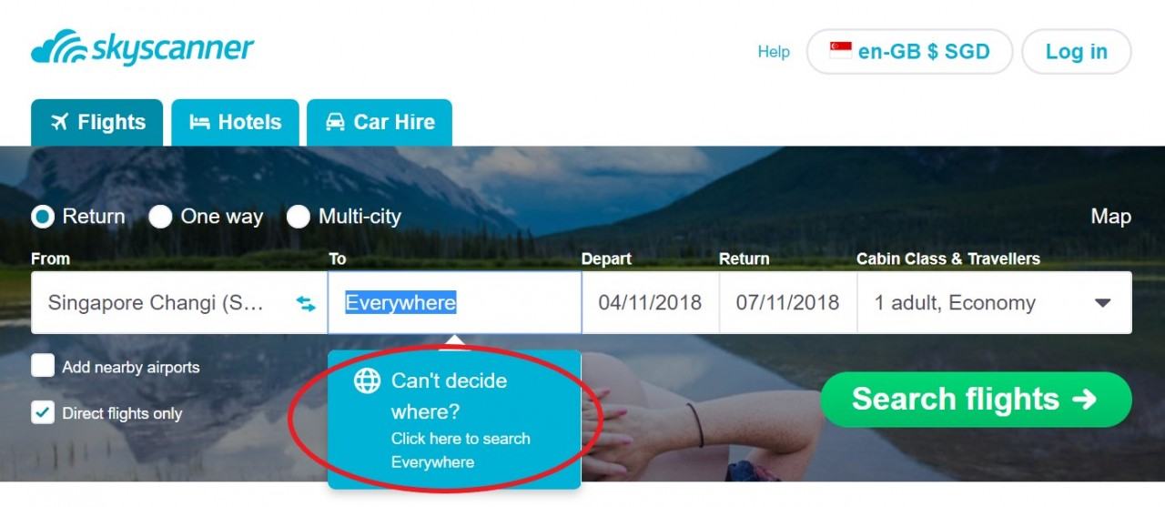 skyscanner everywhere function
