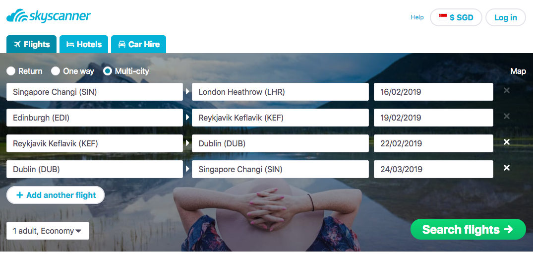 skyscanner itinerary