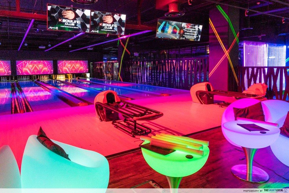 k bowling club neon chairs