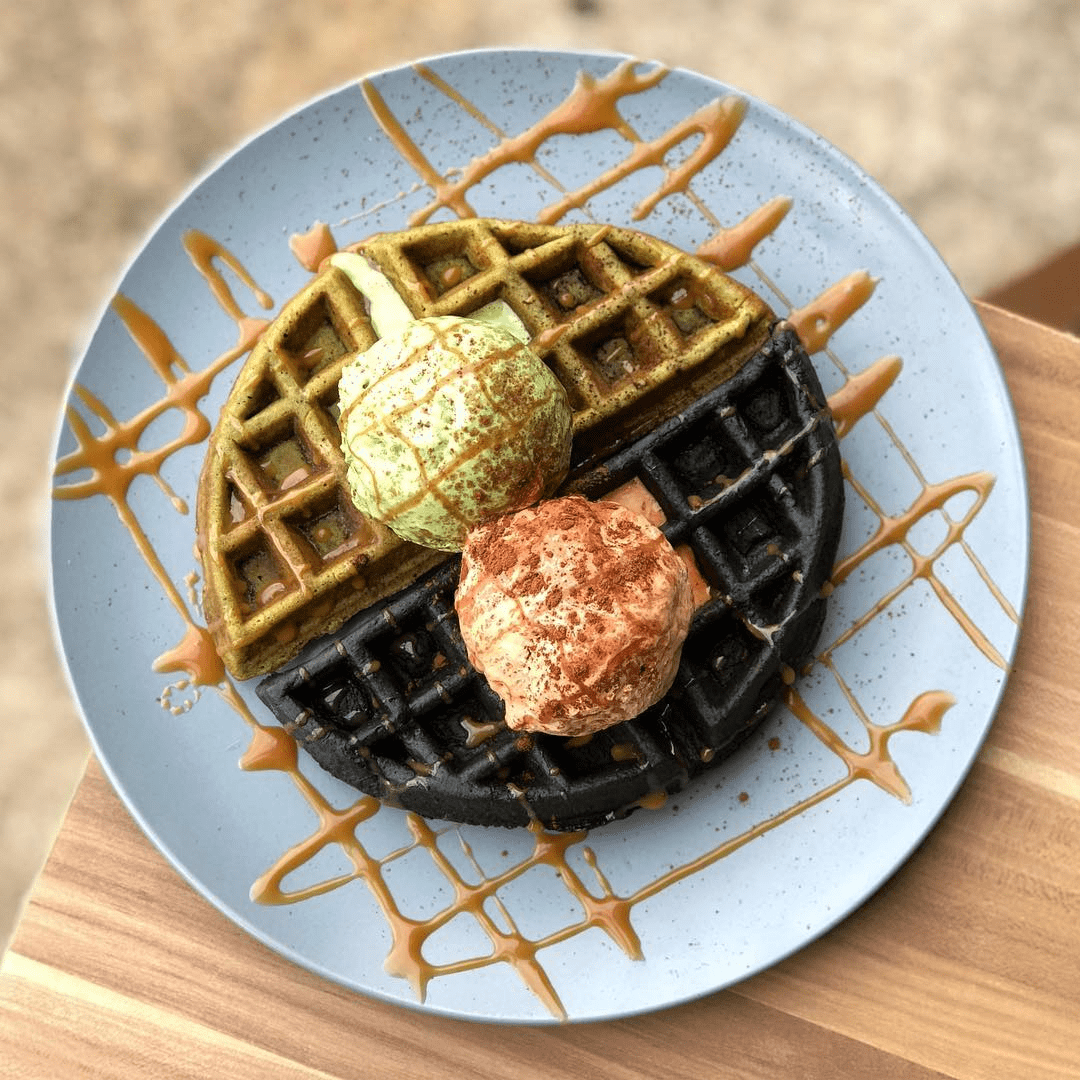 matcha charcoal waffle with ice cream