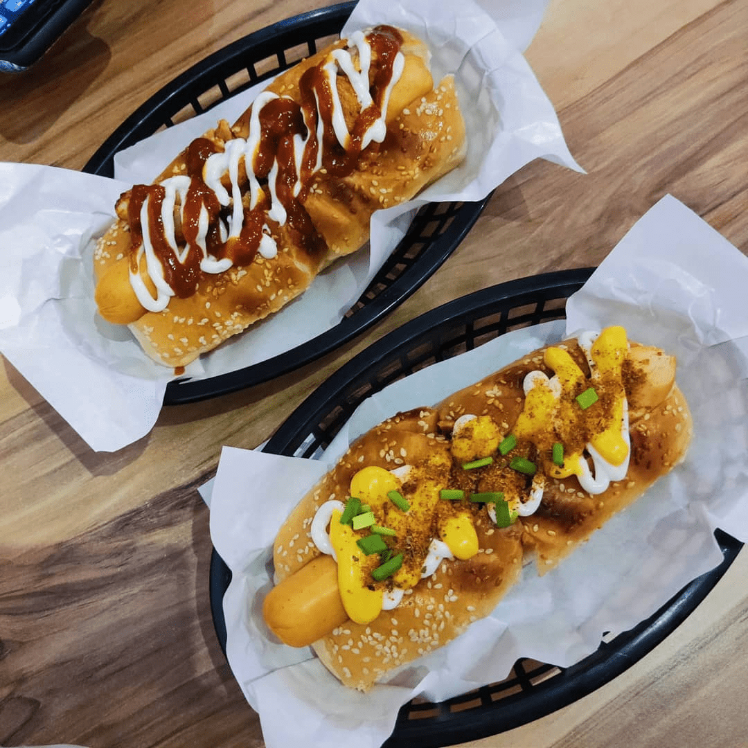 spicy chicken and cajun cheese hot dogs
