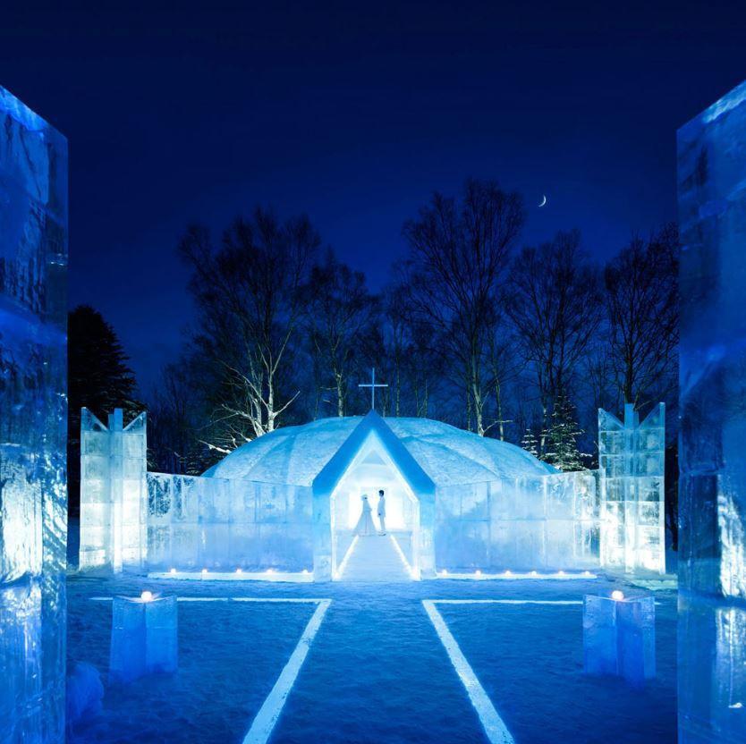 Hoshino Resort Tomamu ice hotel chapel