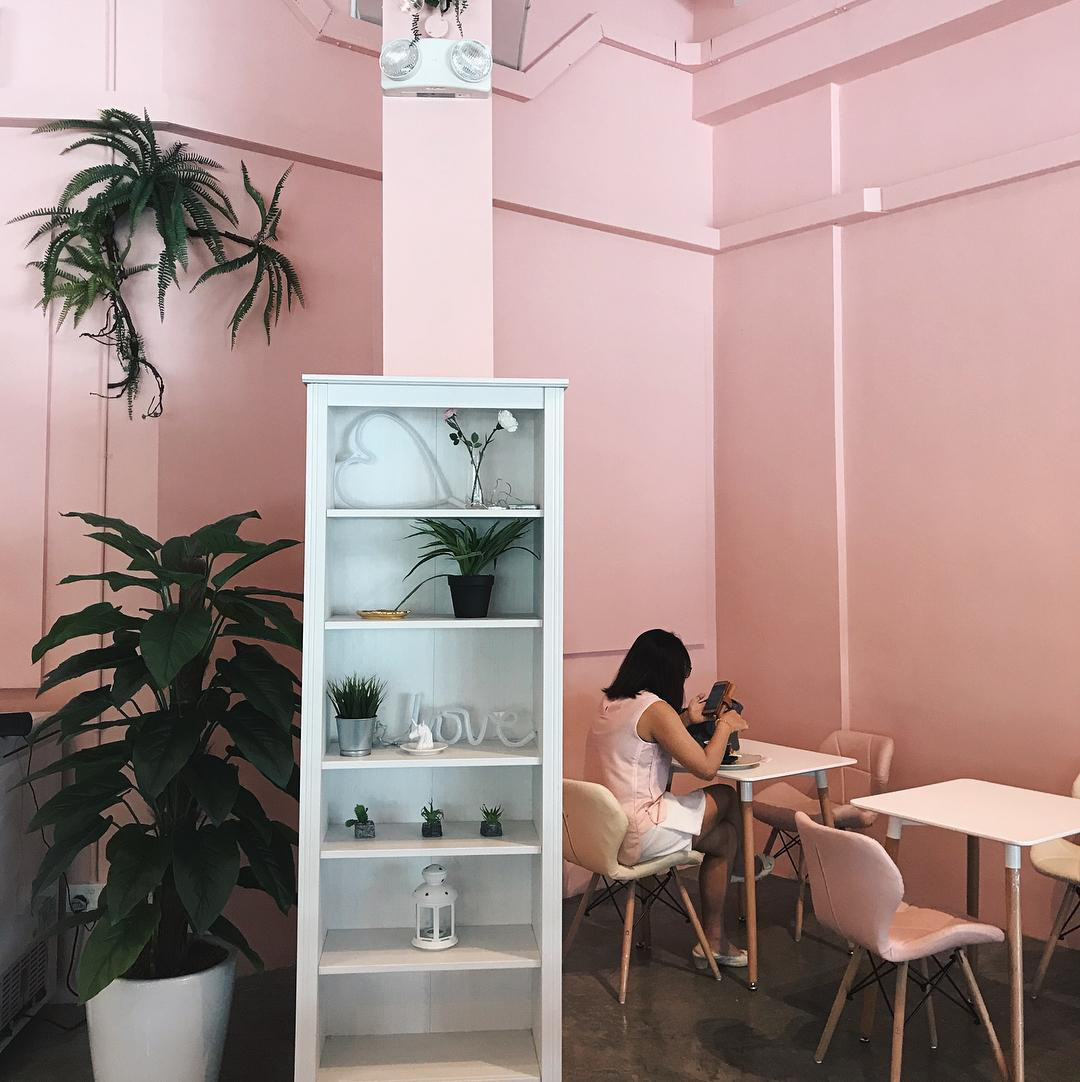 hey sugar cafe pink minalism design