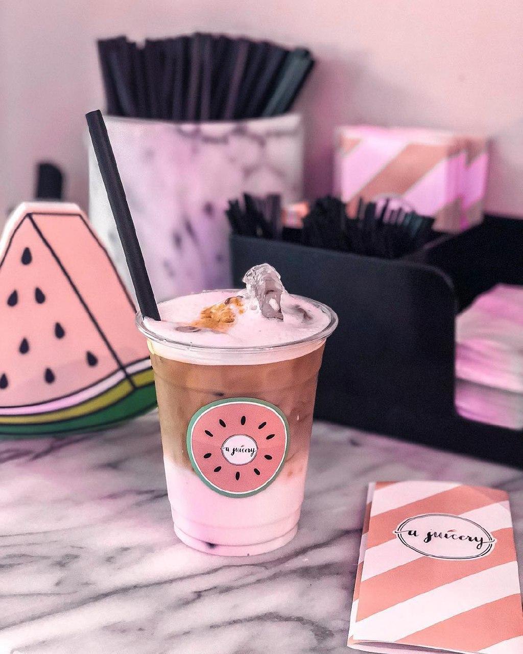 a juicery pink beverage coffee