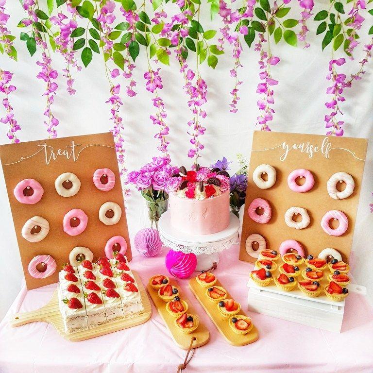 bright flower dessert table