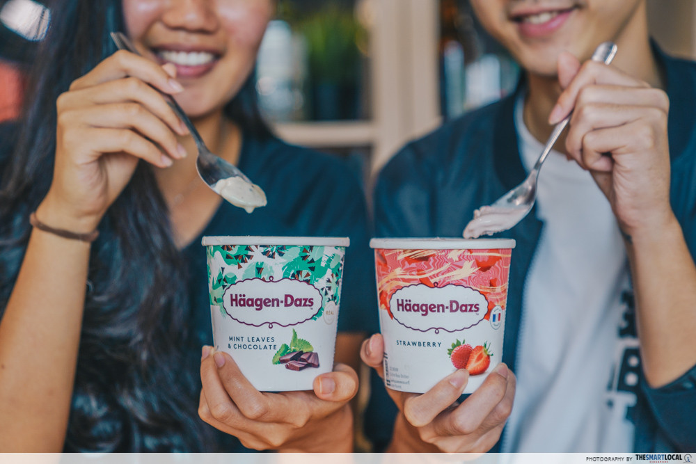 sharing haagen dazs ice cream tub mint leaves chocolate