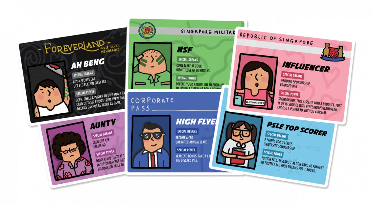 the singaporean dream role cards