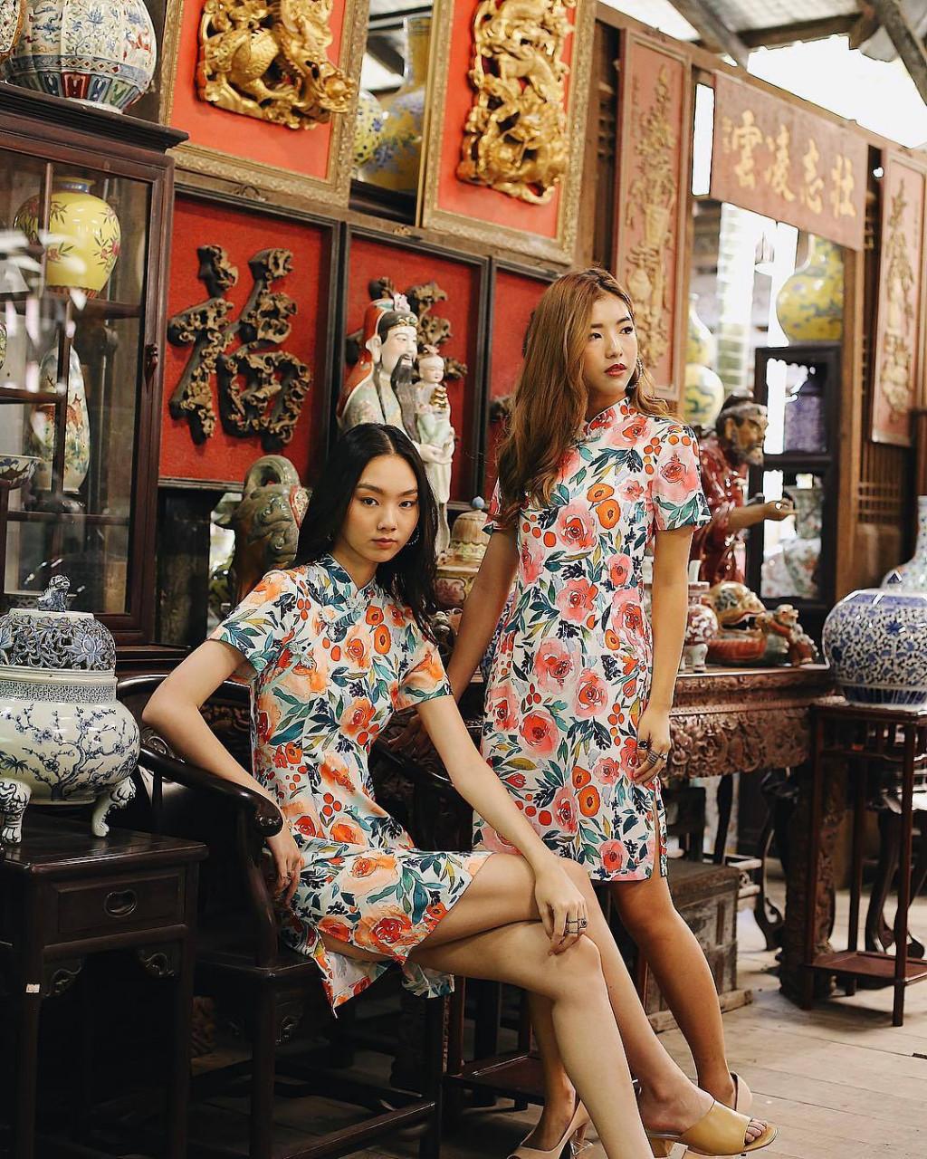 floral print cheongsam