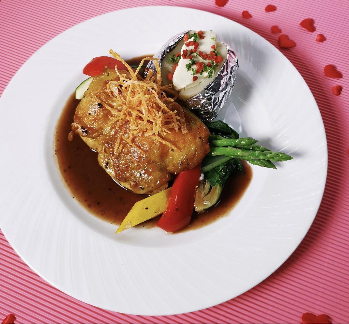 brunetti oven baked chicken thigh valentine's day set dinner 2019